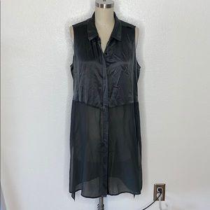 Eileen Fisher grey distressed silk tunic dress M
